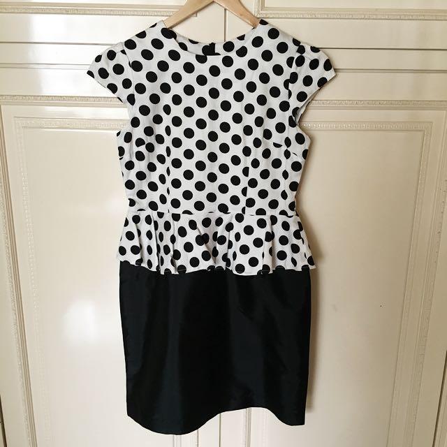 Polka Peplum Dress (No Brand)