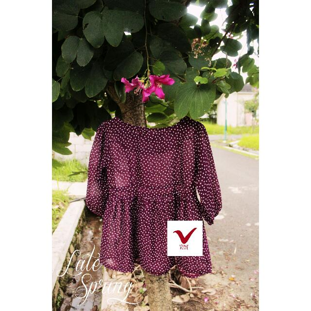 purple polka top peplum