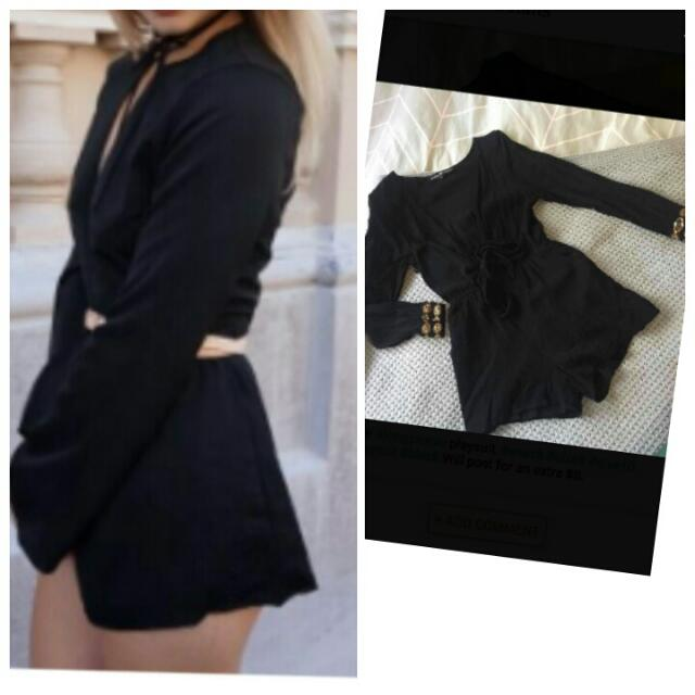 REDUCED PRICE to $25 from $35. #naughtsandcrosses cute lovely #black #playsuit #vneck. #Size8 #size10.Hardly worn