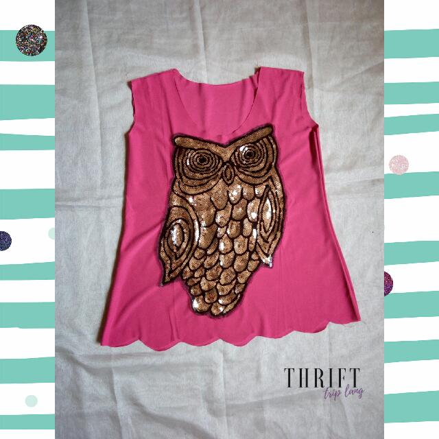 Sequined Owl Pink Top