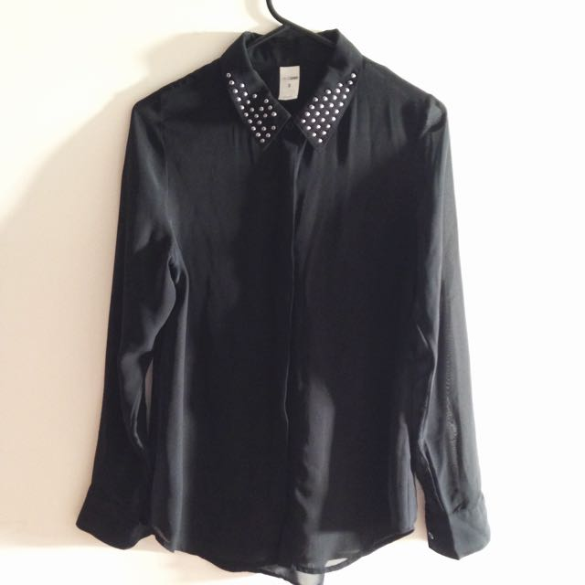 Sheer Black Long-sleeved Shirt Blouse - Button Up Stud Collar