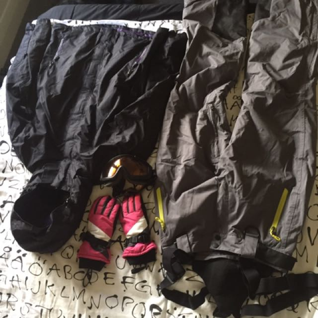 Ski Pants, Jacket, Globes And Glasses