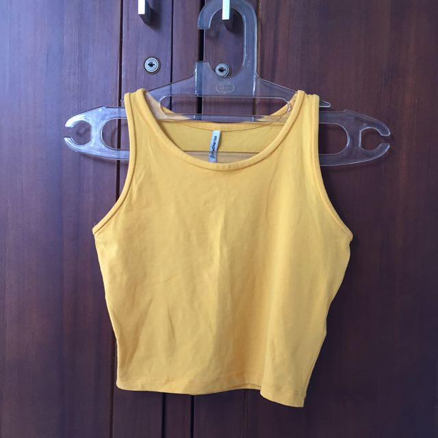Stradivarius Yellow Crop Top