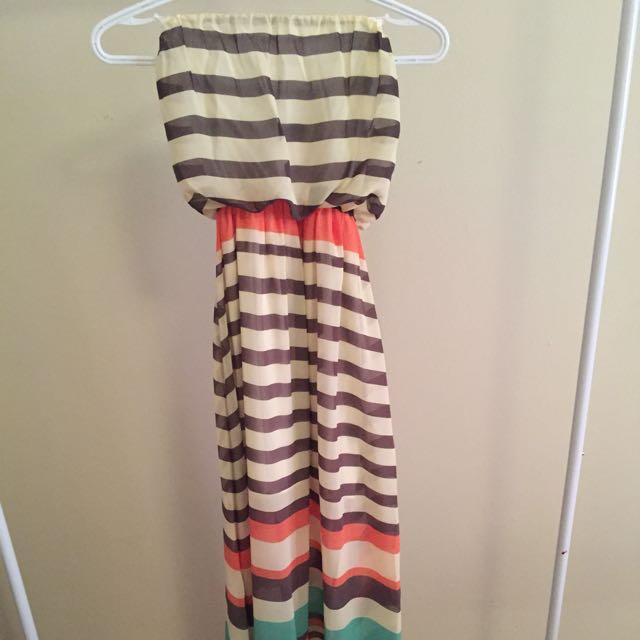 Strapless Striped Maxi