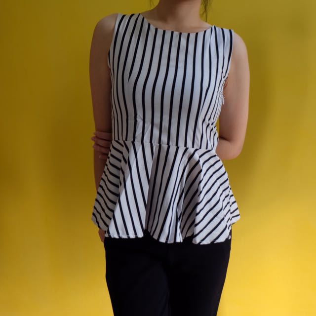 Stripes Peplum (black And White)