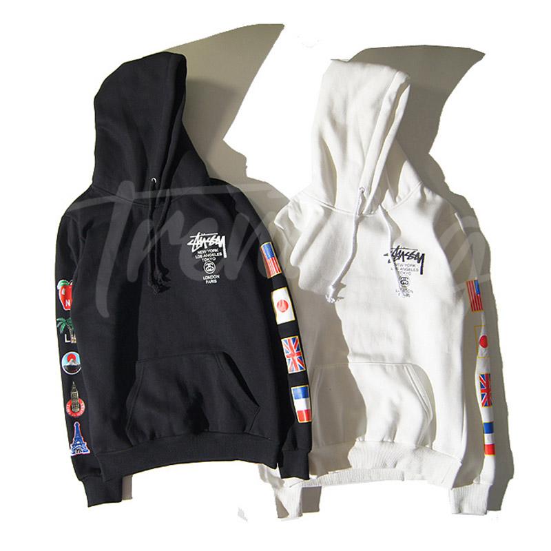 5b6612da7d STUSSY World Tour Flag Hoodie [Pre-Order] Color: Black/White