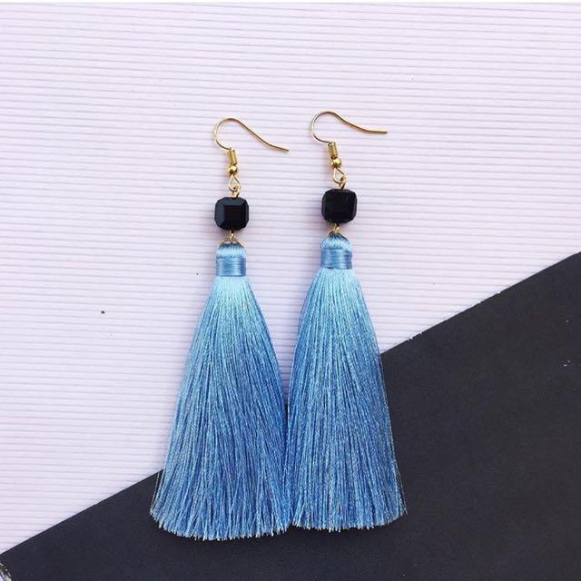 Tassel Earring Blue Jean + Cuba