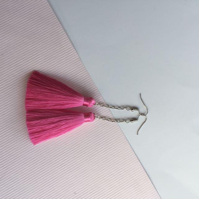 Tassel Earring Pink + Chain