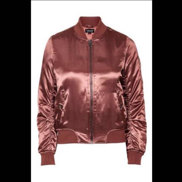 TOPSHOP Satin Rust Bomber Jacket