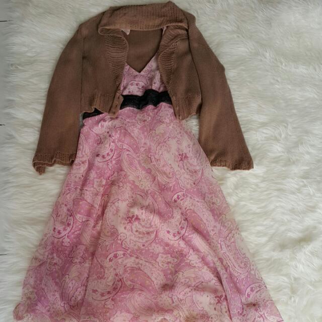 Triset Brown Knited Cardigan & Pink Dress