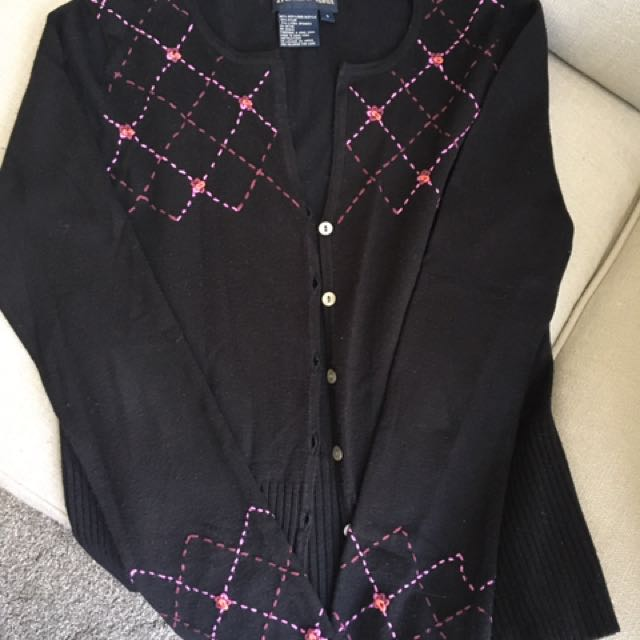Tristan Black Embroidered Cardigan Size S