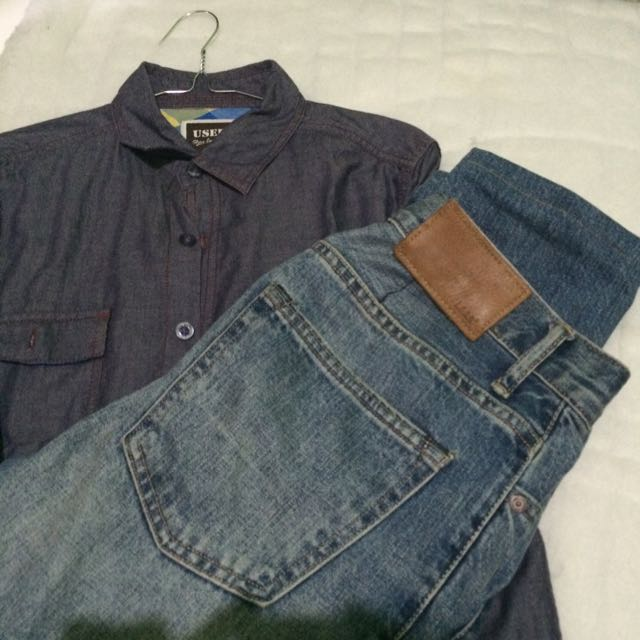 Shirt Used Size S & Jeans H&m Size 30(pemakaian 29 Sdh Dipotong)