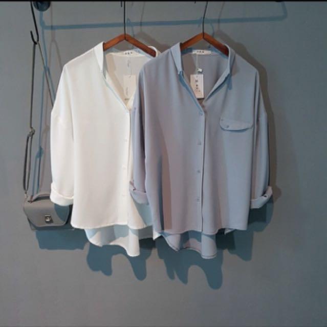秋冬新款純色V領上衣(藍灰色M)