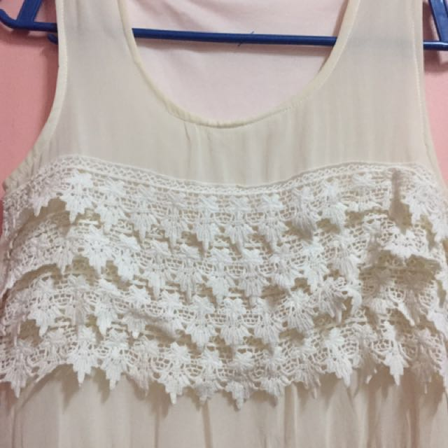 White Chiffon Dress With Lace Details