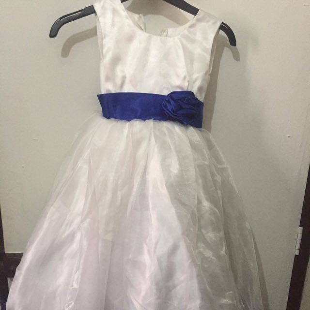White With Blue Gown