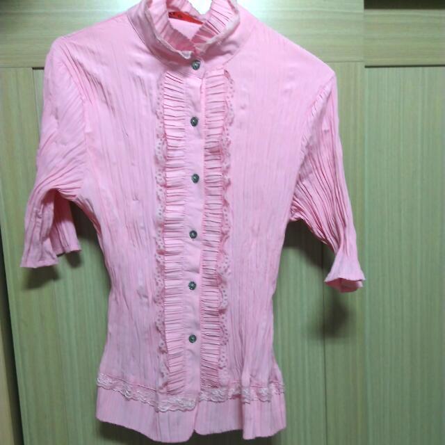 XL[全新]短袖皺折襯衫(付統一超商運費就送)