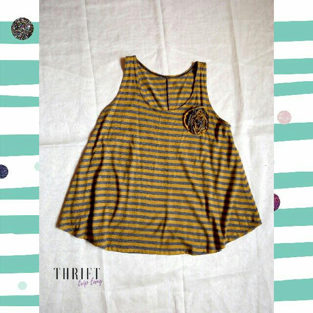Yellow Stripped Sleeveless Top