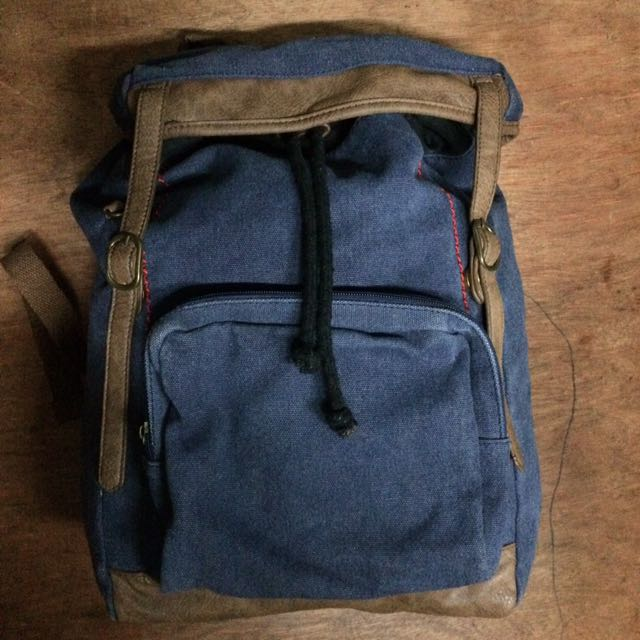 Zalora Navy Blue Canvas Rucksack