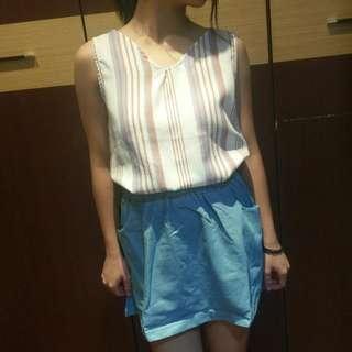 🚚 雪紡背心+水藍短裙