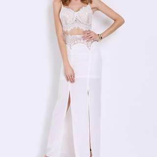 White Lace Maxi Dress. Small