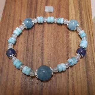海藍手鏈,海藍寶,拉利瑪海紋石,丹泉石,月光石,925純銀配件