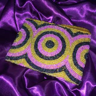 Beaded Passport Sized Pouch With Golden Interior