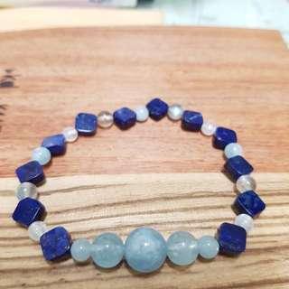青海手鏈,青金石,海藍寶,拉長石,月光石