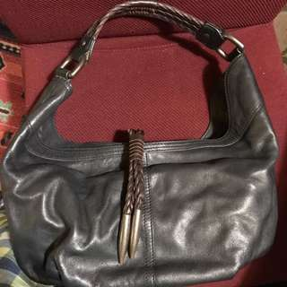 Kenneth Cole Black Leather Handbag With Brown Leather Trim