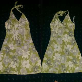 Green And White Flower Halter Dress