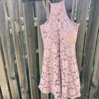 Mauve Floral Lace Dress