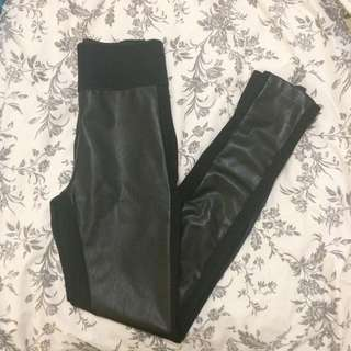 High Waisted Leather/Spandex Leggings