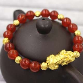Natural Double Red Agate Gold Beads Pixiu Bracelets 8MM