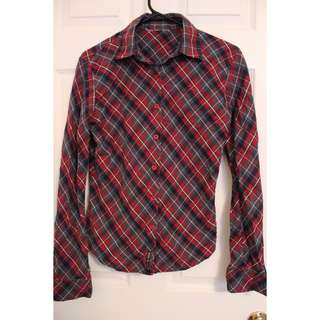 Long-sleeve plaid shirt