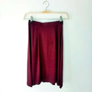 Maroon Medium Flare Skirt Rok