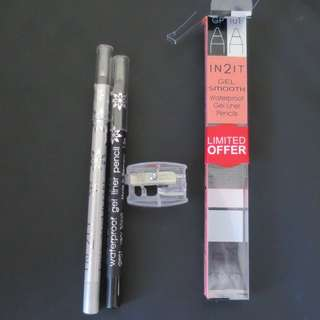 IN2IT Gel Smooth Waterproof Gel Liner Pencils In Black And Silver