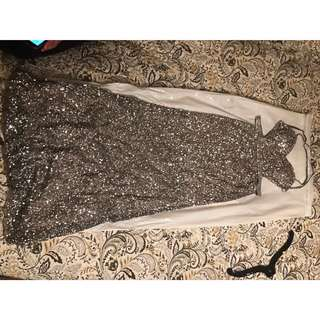 Scala Silver Sequin Prom Dress