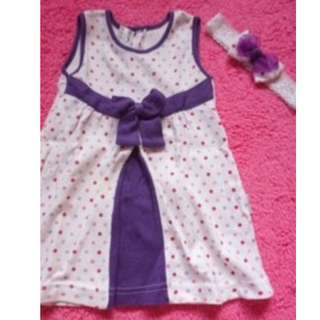 dress & headband bayi (6m - 1y)