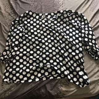Plussize Black And White Polkadot Top