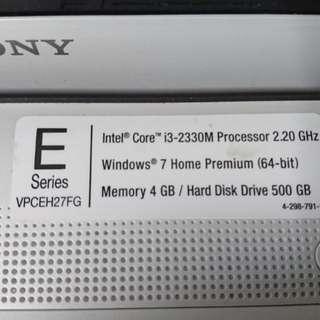 Sony VAIO i3 VPCEH27FG Laptop