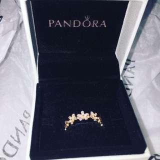 Real Pandora Diamond Flower Ring