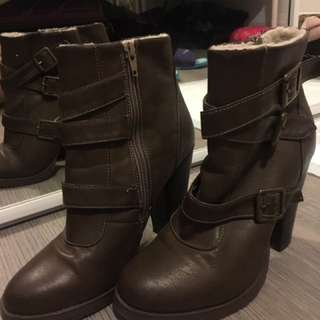 Brown Buckle Booties Size 5/38