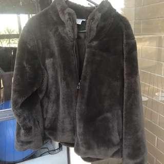 Vintage Faux Fur Zip Up Jacket Retro Festival Size M-L
