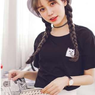 Middle Finger Cat Black Pocket T-shirt