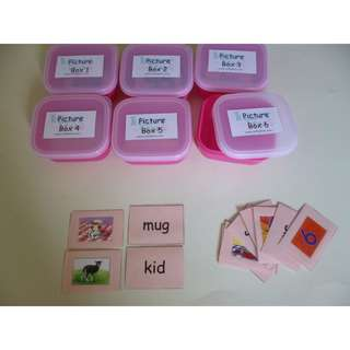 MONTESSORI PHONICS - PINK SCHEME PICTURE BOX WITH TAGS
