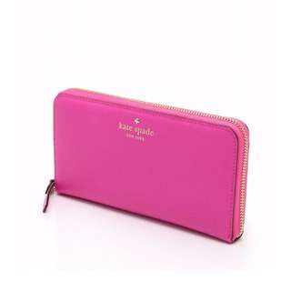 KATE SPADE Long wallet round zip pink gold accessory leather USD 270 (SHIP FROM JAPAN)