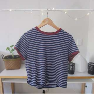 Factorie Striped Crop T-Shirt