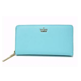 KATE SPADE leather Round zipped wallet light blue PWRU 5073 ladies USD 160 (SHIP FROM JAPAN)
