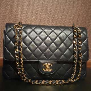 "Good condition 10.5"" Chanel double flap in navy lambskin with shiny ghw"