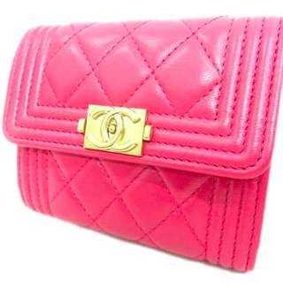 CHANEL Lambskin Quilted Mattress Wallet Coco Mark Pink 170509 Women's USD 860 (SHIP FROM JAPAN