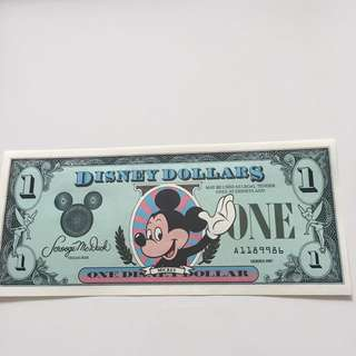 😱 Rare - 1987 1st Edition $1 Disney Note With 1st prefix